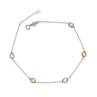 Sterling Silver and 14k Gold Tri-color Oval Bead Station Anklet