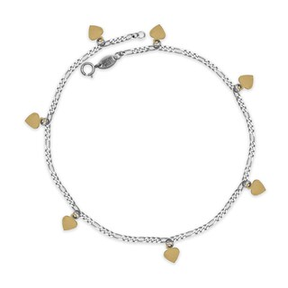2-tone Sterling Silver/14k Yellow Gold 10-inch Hanging Hearts Figaro Anklet Ankle Bracelet