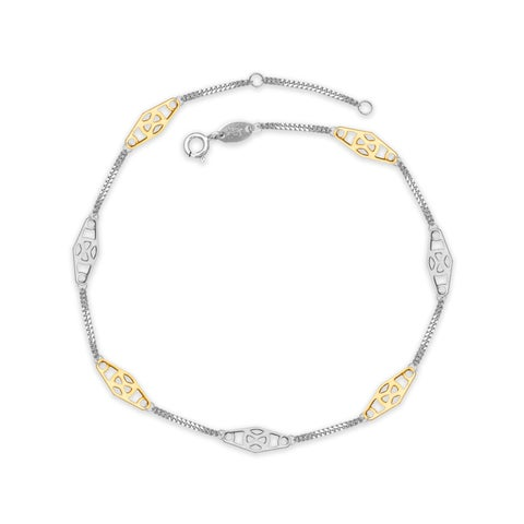 """Sterling Silver and 14K Yellow Gold Two-tone Alternating X Medallion Station Anklet (9-10"""")"""