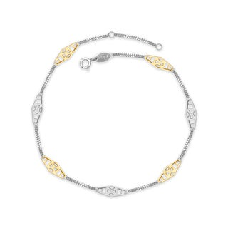 "Sterling Silver and 14K Yellow Gold Two-tone Alternating X Medallion Station Anklet (9-10"")"