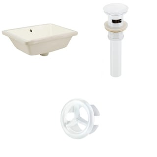 18.25-in. W Rectangle Undermount Sink Set In Biscuit - White Hardware - Overflow Drain Incl.