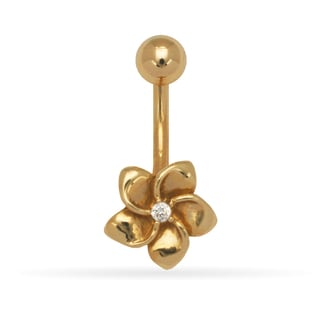 14k Gold 14-Gauge Cubic Zirconia Plumeria Flower Drop Body Jewelry Belly Ring (yellow or white) - White