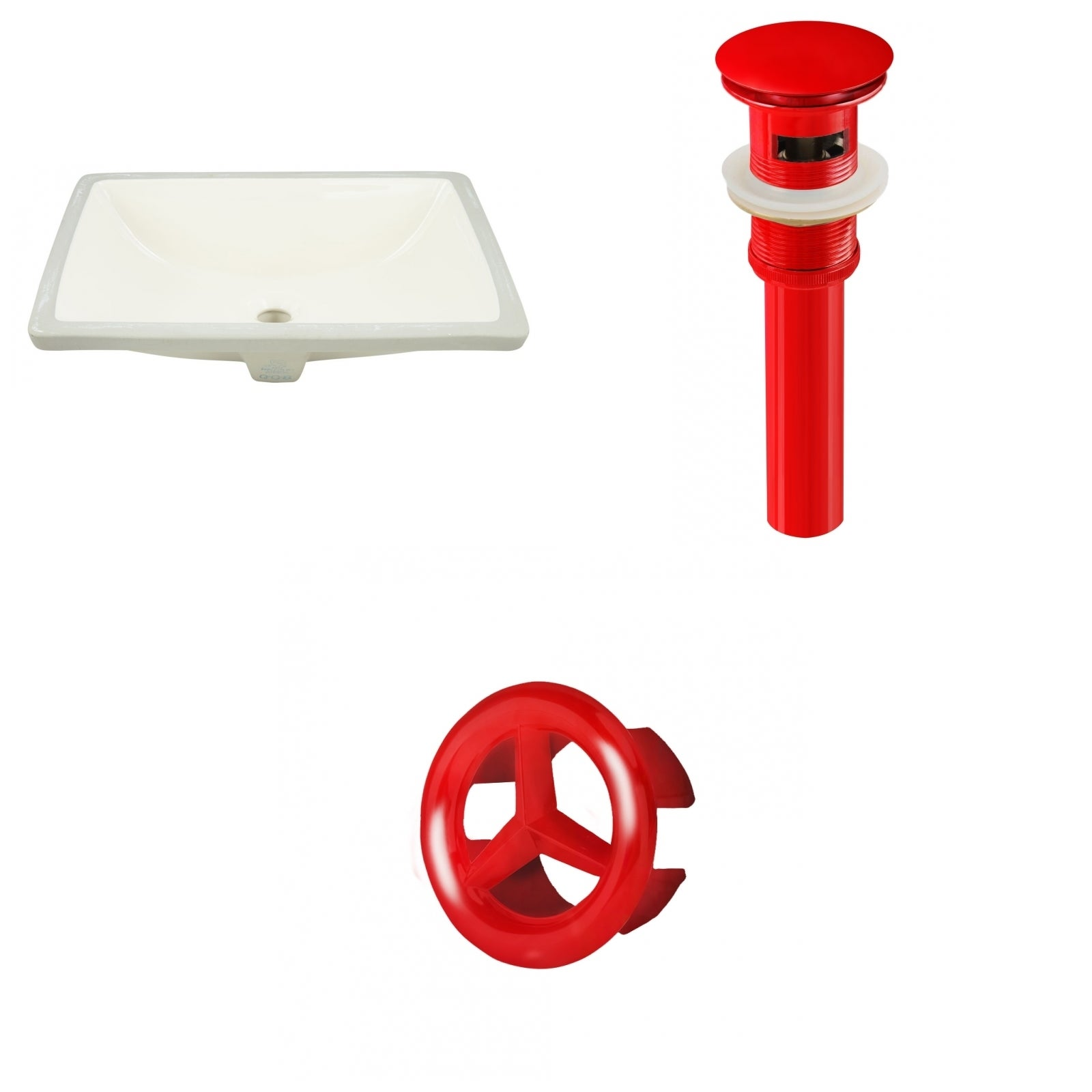 20.75-in. W Rectangle Undermount Sink Set In Biscuit - Red Hardware - Overflow Drain Incl. (Biscuit)