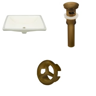 20.75-in. W Rectangle Undermount Sink Set In Biscuit - Antique Brass Hardware - Overflow Drain Incl.
