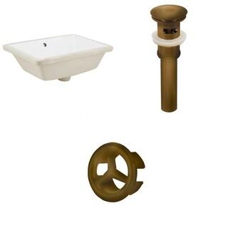 18.25-in. W Rectangle Undermount Sink Set In White - Antique Brass Hardware - Overflow Drain Incl.