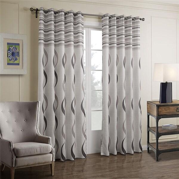 Shop Dreaming Casa Printed Grey Strip Grommet Top Curtain