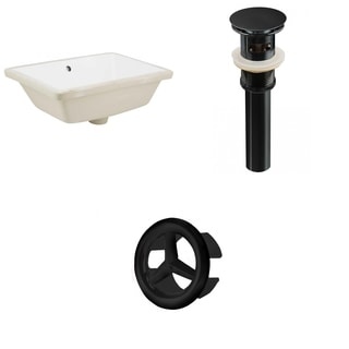 18.25-in. W Rectangle Undermount Sink Set In White - Black Hardware - Overflow Drain Incl.