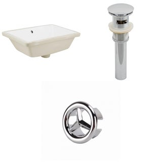 18.25-in. W Rectangle Undermount Sink Set In White - Chrome Hardware - Overflow Drain Incl.