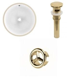 16.5-in. W Round Undermount Sink Set In White - Gold Hardware - Overflow Drain Incl.