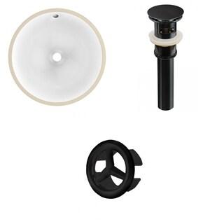 16.5-in. W Round Undermount Sink Set In White - Black Hardware - Overflow Drain Incl.