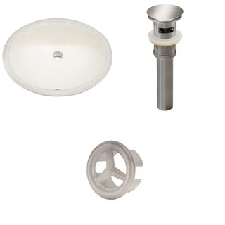 19.75-in. W Oval Undermount Sink Set In Biscuit - Brushed Nickel Hardware - Overflow Drain Incl.