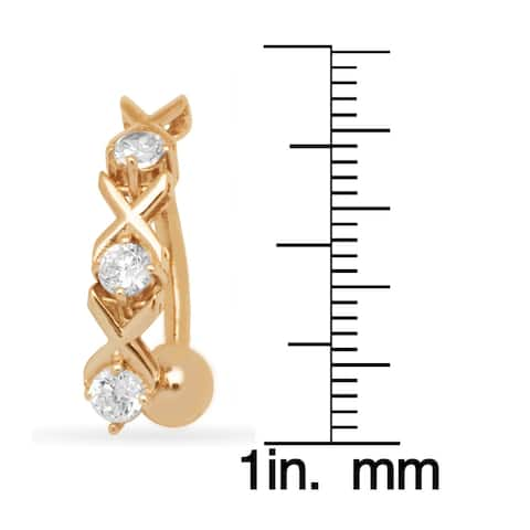 14k Gold 14-Gauge Cubic Zirconia Top Down Hearts and Kisses XOXO Body Jewelry Belly Ring (yellow or white) - White