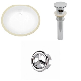19.5-in. W Oval Undermount Sink Set In White - Chrome Hardware - Overflow Drain Incl.