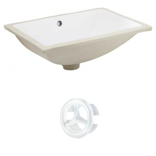 20.75-in. W CSA Rectangle Undermount Sink Set In White - White Hardware