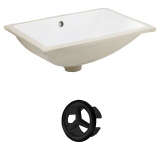 20.75-in. W CSA Rectangle Undermount Sink Set In White - Black Hardware