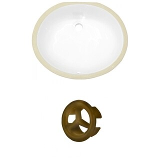 18.25-in. W CSA Oval Undermount Sink Set In White - Antique Brass Hardware