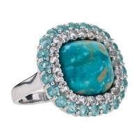 Pangea Mines, Kingman Turquoise, Blue Topaz, and Apatite Ring