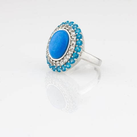 Pangea Mines, Oval Ceruleite, Neon Apatite, and White Topaz Ring - Blue