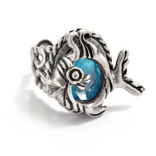 Sweet Romance Vintage Crystal Little Fish Ocean Ring