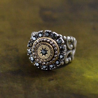 Sweet Romance Vintage Hematite Halo Estate Ring