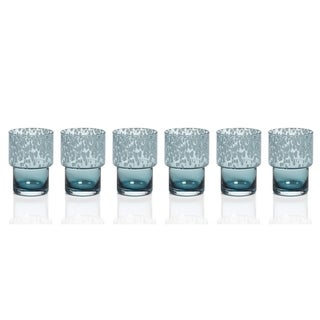 6-Piece Dotted Rocks Glass Set- Blue