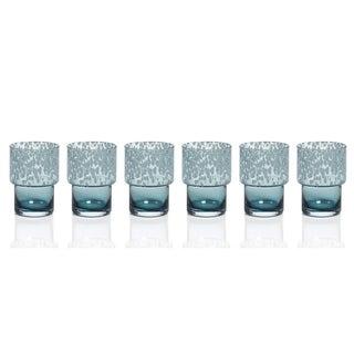 Zodax 6-Piece Dotted Rocks Glass Set- Blue