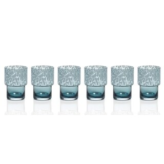 Rock Glass, Blue Dotted (Set of 6)