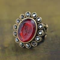 Sweet Romance Vintage Glass Cameo Intaglio Ring