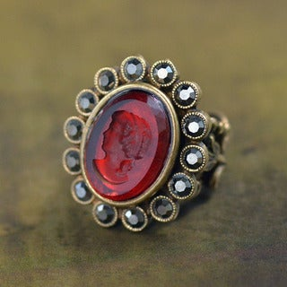Sweet Romance Vintage Glass Cameo Intaglio Ring (3 options available)