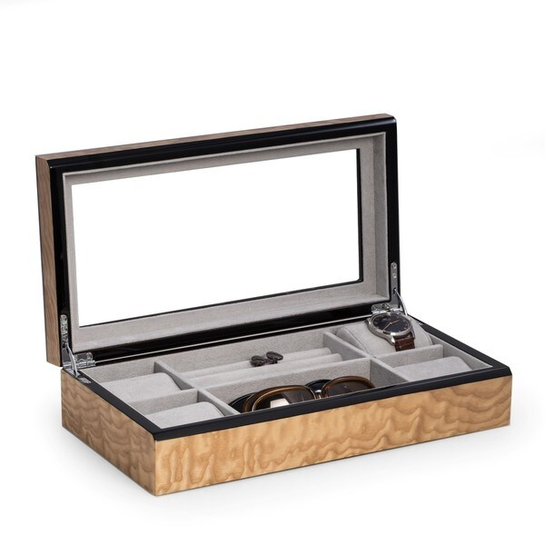 Bey Berk Alexis Wood Valet and Jewelry Case