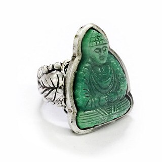 Sweet Romance Vintage Green Jade Glass Buddha Ring