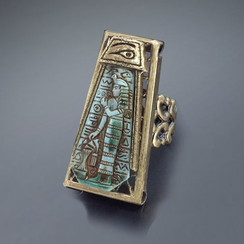 Sweet Romance Blue Goddess Vintage Egyptian Ring