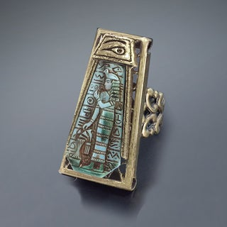 Sweet Romance Blue Goddess Vintage Egyptian Ring