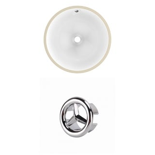 15-in. W CSA Round Undermount Sink Set In White - Chrome Hardware