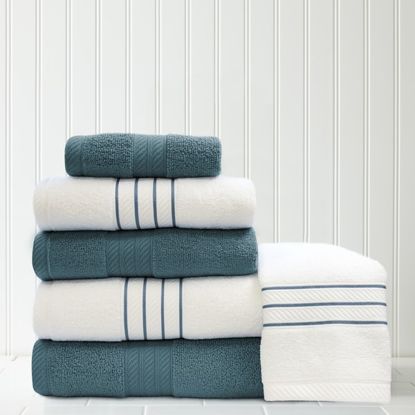Amrapur Overseas 6-piece Quick Dry Thin Stripe/Contrast Towel Set