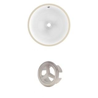 15.75-in. W CUPC Round Undermount Sink Set In White - Brushed Nickel Hardware