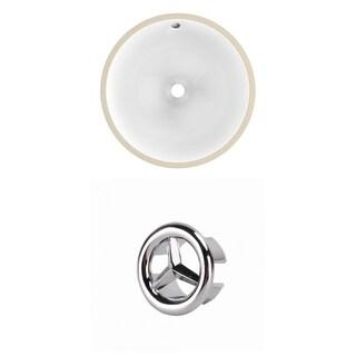 15.75-in. W CUPC Round Undermount Sink Set In White - Chrome Hardware