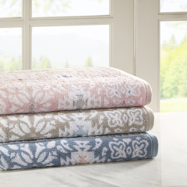 Madison Park Danica 6 Piece Cotton Jacquard Towel Set 3 Color Option