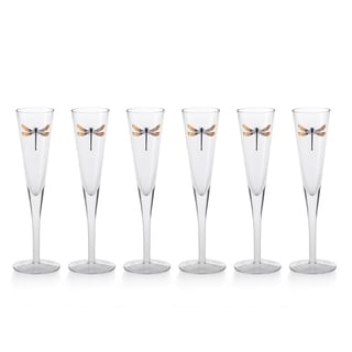 """""""Libelle"""" 10.25"""" Tall Flute Champagne Glass, Dragonfly Design (Set of 6)"""