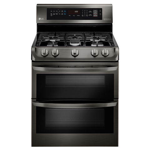 LG LDG4315BD 6.9 cu. ft. Gas Double Oven Range with ProBake Convection®, EasyClean® and Gliding Rack in Black Stainless Steel