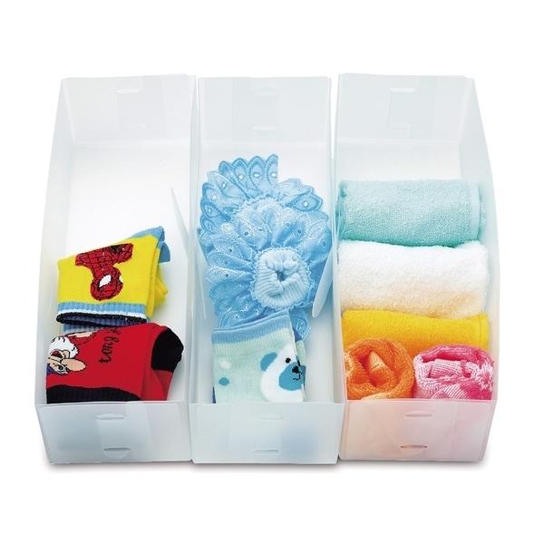 Closet/Dresser Drawer Divider Storage Foldable, Organizer, Cube Basket Containers Bin Frosty white plastic Set of 3 2184