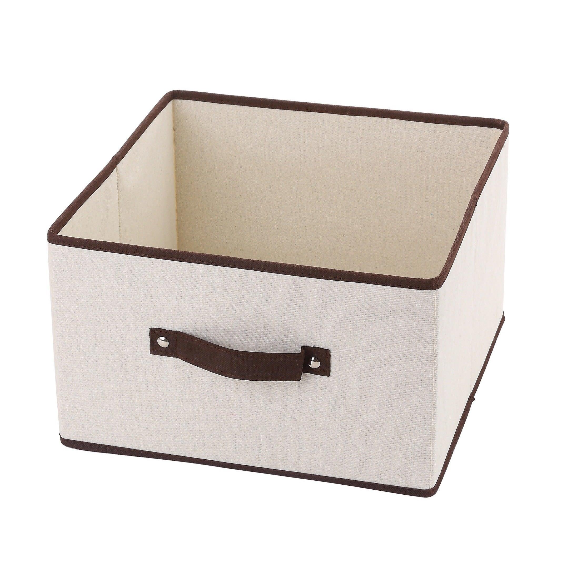 Fabric Closet Dresser Drawer Storage Foldable Organizer Cube Basket Bin Natural Brown Trim 2197 Medium Overstock 16687006