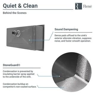 "R1-1022S Undermount 3/4"" Radius Stainless Steel Kitchen Sink with Cutting Board, Grid, and Basket Strainer"