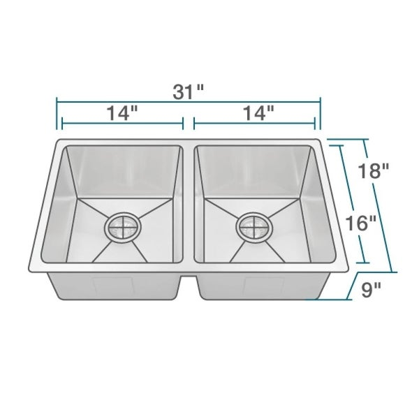 """R1-1022D Undermount 3/4"""" Radius Stainless Steel Kitchen Sink with Cutting Board, Two Grids, and Two Strainers"""