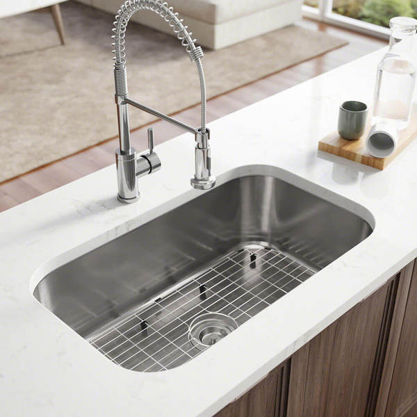 R1-1021 Stainless Steel Kitchen Sink with Cutting Board, Grid, and Basket Strainer