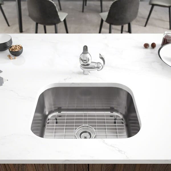 R1 1018 Single Bowl Stainless Steel Kitchen Sink With Cutting Board Grid And Basket Strainer Overstock 16687115 18