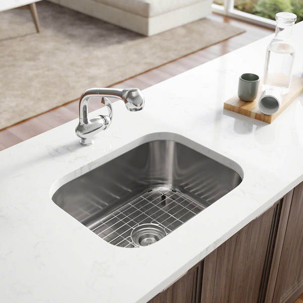 R1-1018 Single Bowl Stainless Steel Kitchen Sink with Cutting Board, Grid, and Basket Strainer