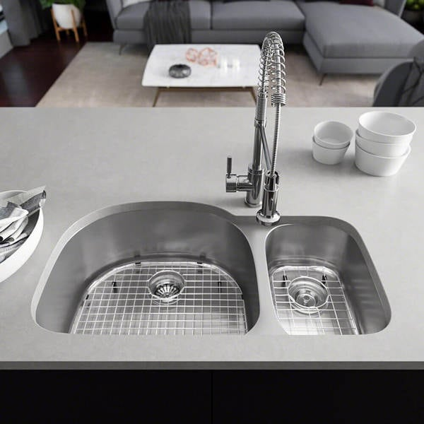 René By Elkay R1 1007 Offset Stainless Steel Kitchen Sink In 18 Gauge With