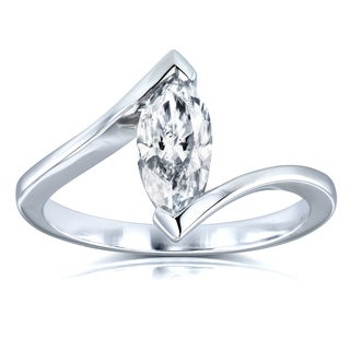 Annello by Kobelli Certified 14k White Gold 1ct Marquise Diamond Chevron Solitaire Engagement Ring