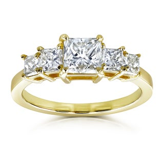 Annello by Kobelli EGL Certified 14k Yellow Gold 1 7/8ct TDW Five Stone Diamond Engagement Ring (H, VS2)